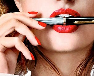 Sexy businesswoman teacher student woman girl holding a pen in her mouth red lipstick lipgloss makeup; Shutterstock ID 20513144